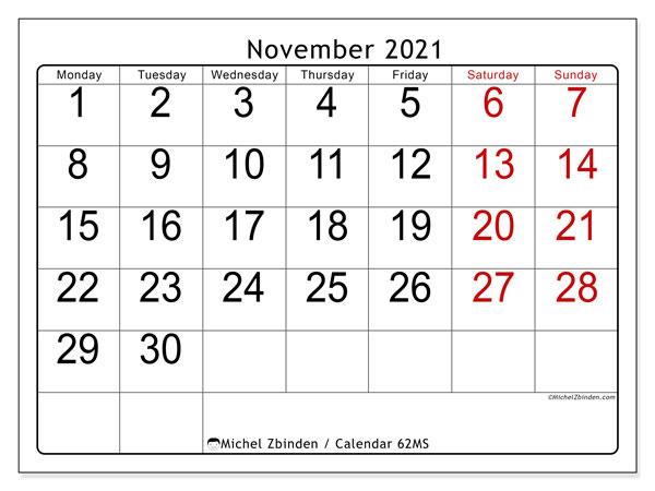 November 2021 Calendar, 62MS. Monthly calendar to print free.