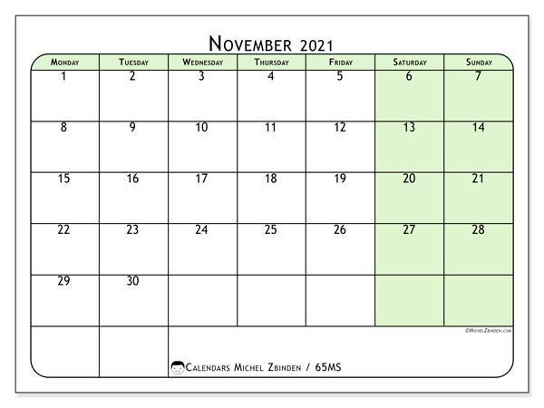 November 2021 Calendar, 65MS. Calendar to print free.