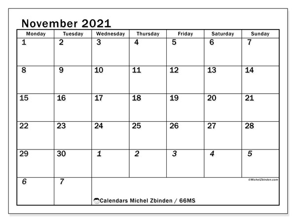 November 2021 Calendar, 66MS. Free printable bullet journal.