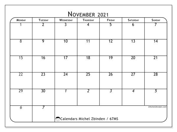 November 2021 Calendar, 67MS. Free planner to print.