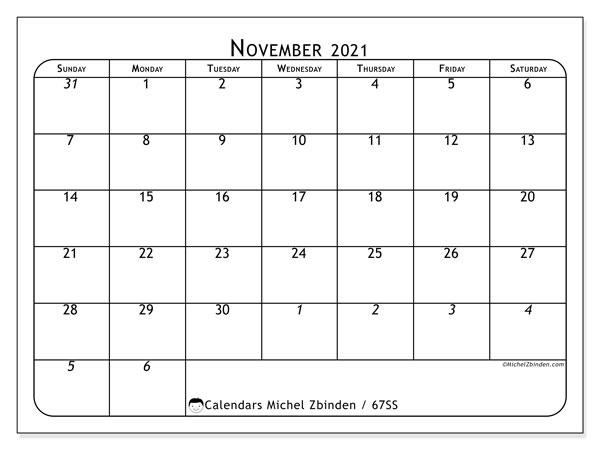 November 2021 Calendar, 67SS. Monthly calendar to print free.