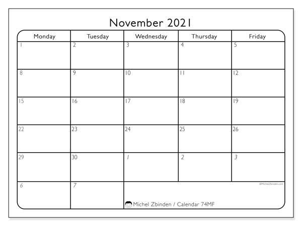 November 2021 Calendar, 74SS. Free bullet journal to print.