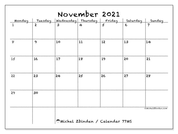 Calendar November 2021 - 77MS. Blackboard. Monthly Calendar and agenda to print free.