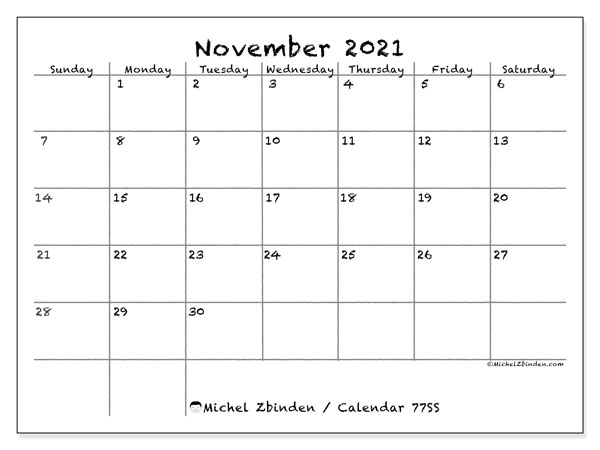 November 2021 Calendar, 77SS. Monthly planner to print free.