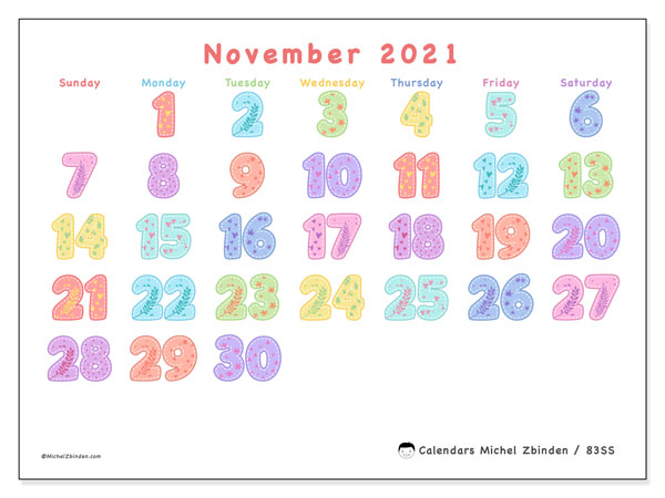 November 2021 Calendar, 83SS. Calendar to print free.