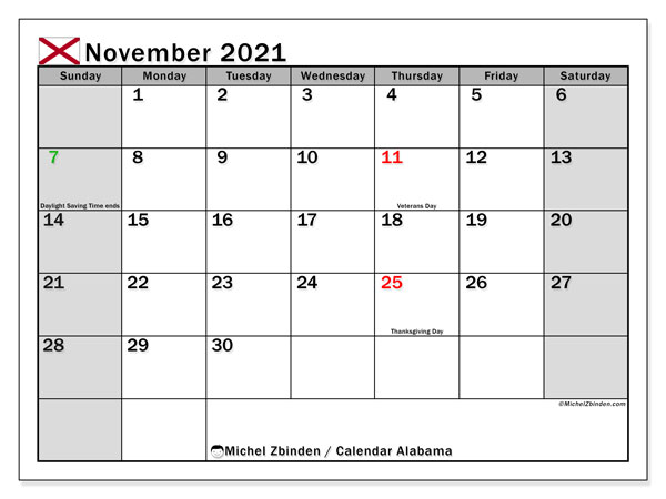 Calendar November 2021 - Alabama. Public Holidays. Monthly Calendar and bullet journal to print free.