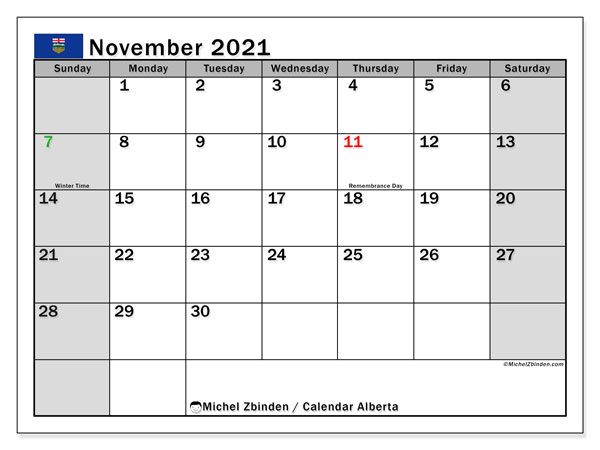 Calendar November 2021 - Alberta. Public Holidays. Monthly Calendar and free planner to print.