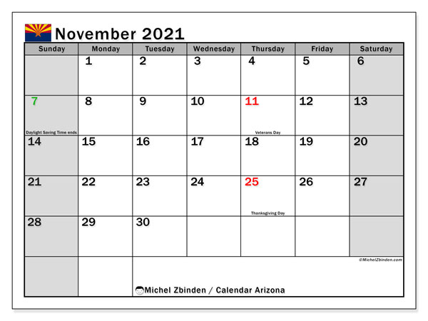 November 2021 Calendar, with the holidays of Arizona. Free printable calendar with public holidays.