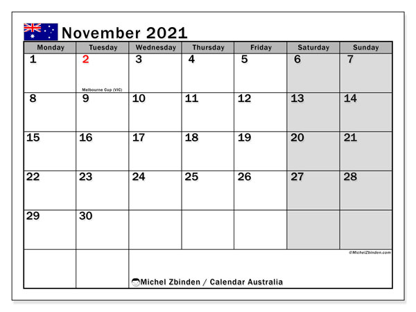 Calendar November 2021 - Australia. Public Holidays. Monthly Calendar and free bullet journal to print.