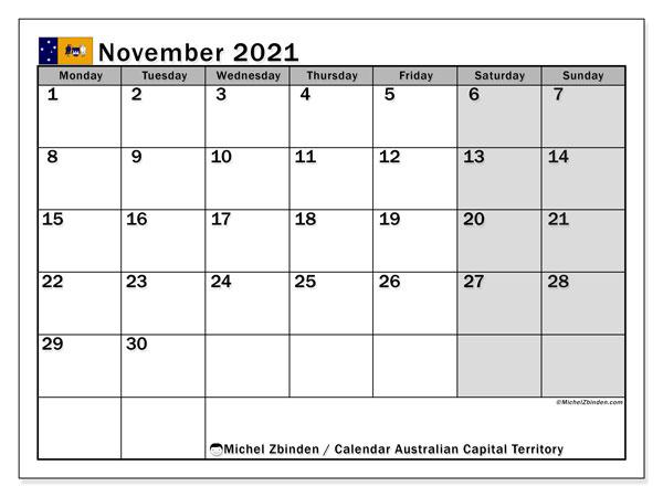 November 2021 Calendar, with the holidays of Australian Capital Territory. Free printable calendar with public holidays.