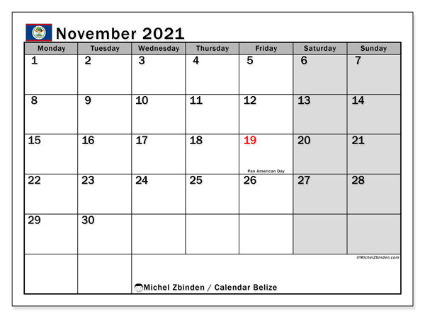 Calendar November 2021 - Belize. Public Holidays. Monthly Calendar and timetable to print free.