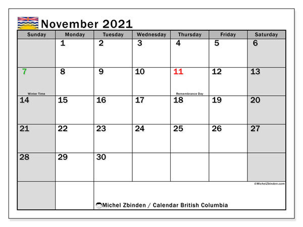 November 2021 Calendar, with the holidays of British Columbia. Free printable calendar with public holidays.