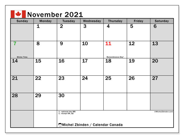 "November 2021 Calendars ""Public Holidays""   Michel Zbinden EN"