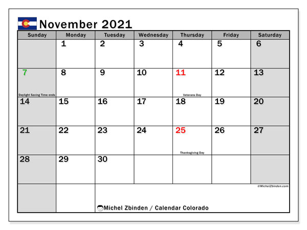"Printable ""Colorado"" calendar with public holidays. Monthly November 2021 calendar and free printable timetable."