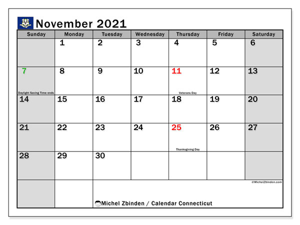November 2021 Calendar, with the holidays of Connecticut. Holidays calendar to print free.