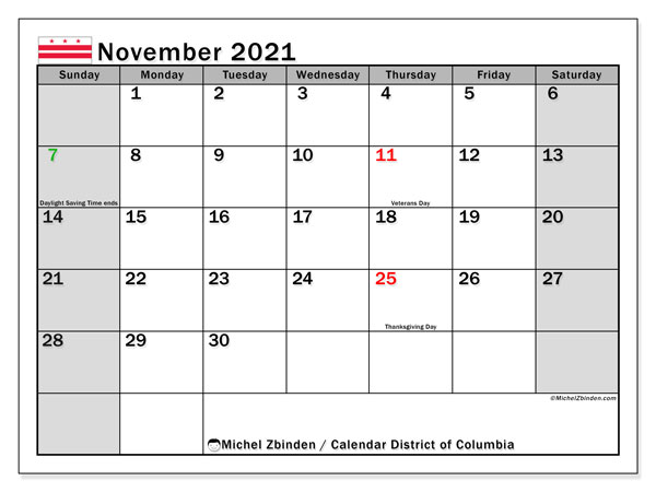 Calendar November 2021 - District of Columbia. Public Holidays. Monthly Calendar and free printable planner.