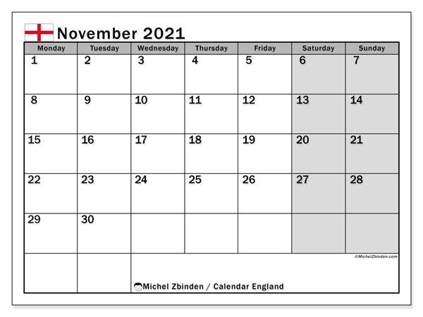 November 2021 Calendar, with the holidays of England. Holidays calendar to print free.