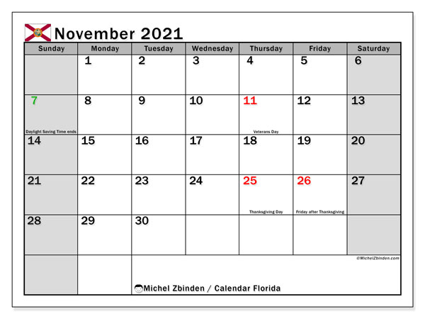 November 2021 Calendar, with the holidays of Florida. Free printable calendar with public holidays.