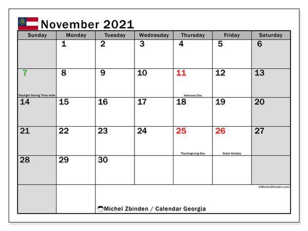 November 2021 Calendar, with the holidays of Georgia. Holidays calendar to print free.