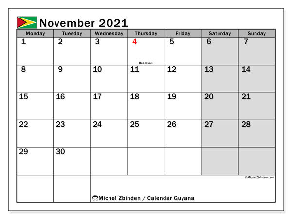 Printable calendars, November 2021, Public Holidays