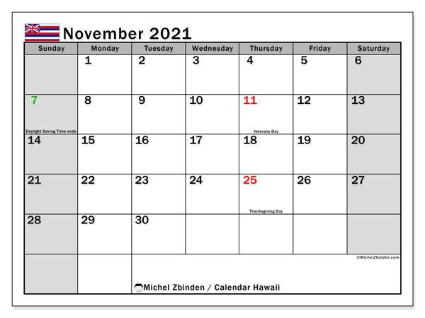 November 2021 Calendar, with the Hawaii holidays. Holidays calendar to print free.