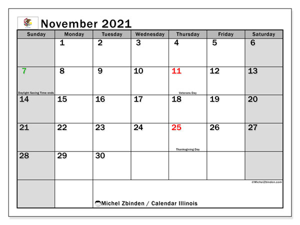 November 2021 Calendar, with the holidays of Illinois. Holidays calendar to print free.