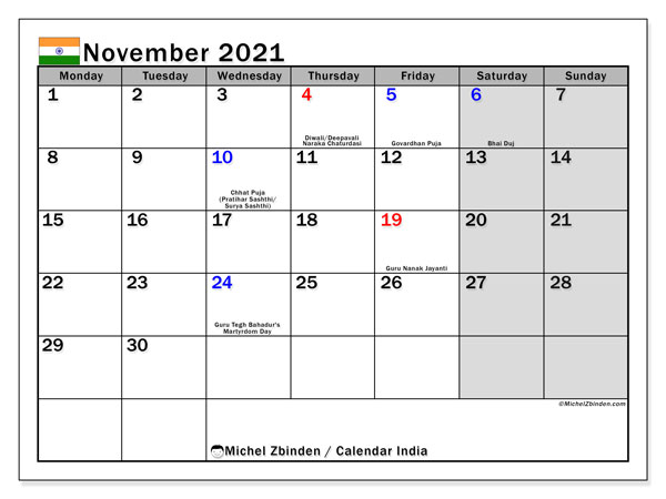 November 2021 Calendar, with the holidays of India. Holidays calendar to print free.