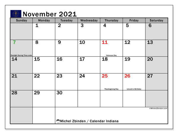 Calendar November 2021 - Indiana. Public Holidays. Monthly Calendar and free printable bullet journal.