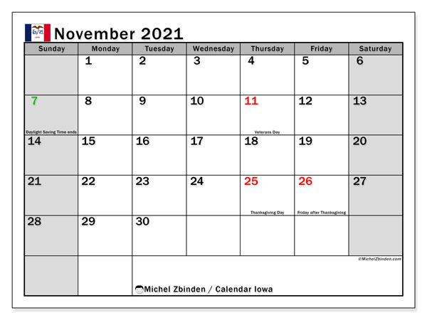 November 2021 Calendar, with the holidays of Iowa. Holidays calendar to print free.