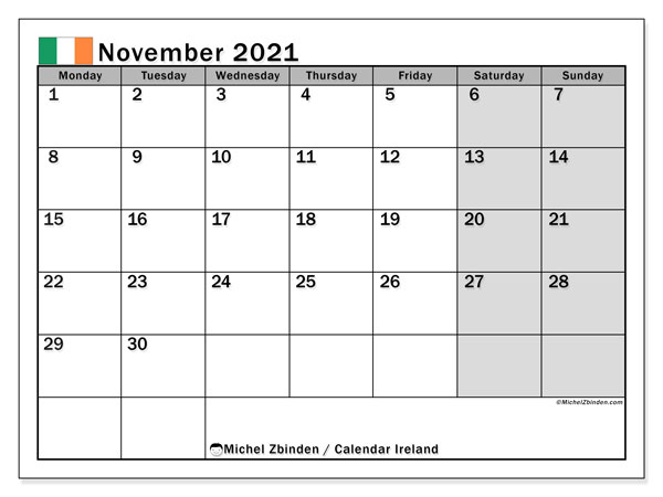 Calendar November 2021 - Ireland. Public Holidays. Monthly Calendar and agenda to print free.