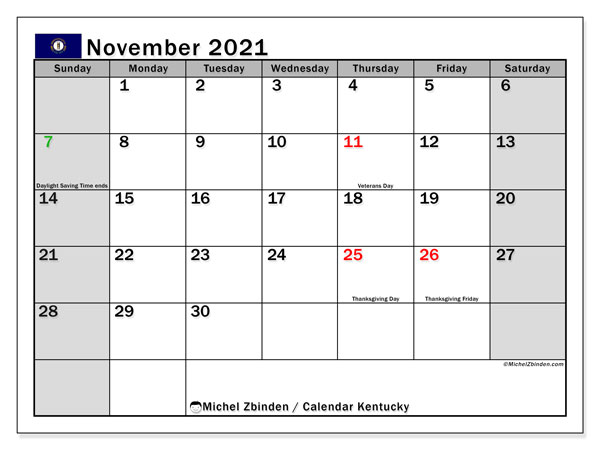 November 2021 Calendar, with the holidays of Kentucky. Free printable calendar with public holidays.