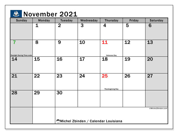 November 2021 Calendar, with the holidays of Louisiana. Free printable calendar with public holidays.