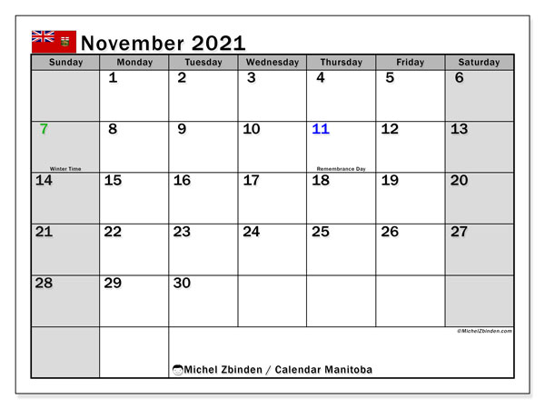 Calendar November 2021 - Manitoba. Public Holidays. Monthly Calendar and bullet journal to print free.