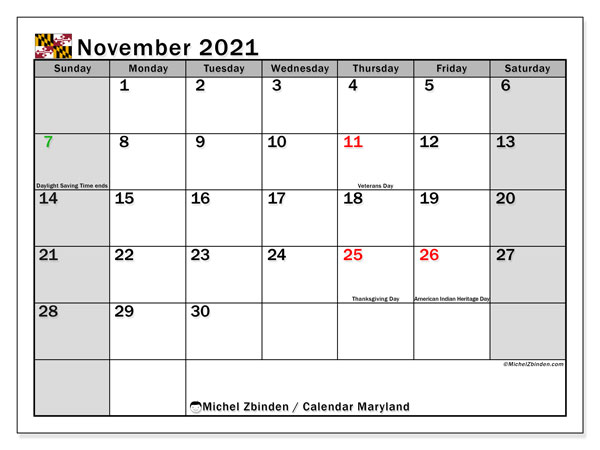 Calendar November 2021 - Maryland. Public Holidays. Monthly Calendar and bullet journal to print free.