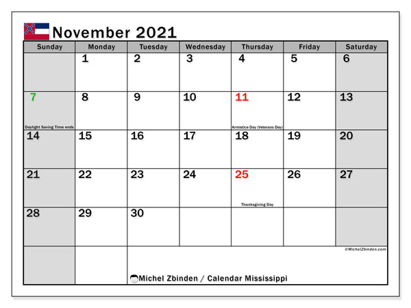 November 2021 Calendar, with the Mississippi holidays. Holidays calendar to print free.