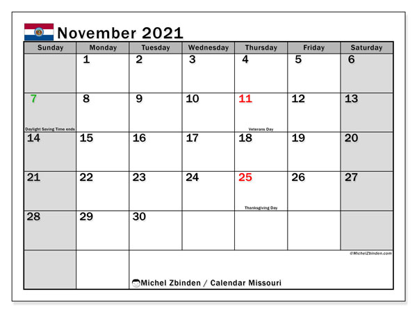 Calendar November 2021 - Missouri. Public Holidays. Monthly Calendar and free planner to print.