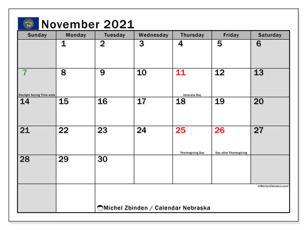 November 2021 Calendar, with the holidays of Nebraska. Free printable calendar with public holidays.