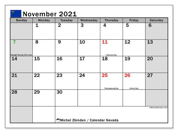 November 2021 Calendar, with the holidays of Nevada. Holidays calendar to print free.