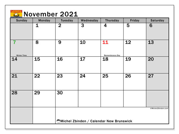 November 2021 Calendar, with the holidays of New Brunswick. Holidays calendar to print free.