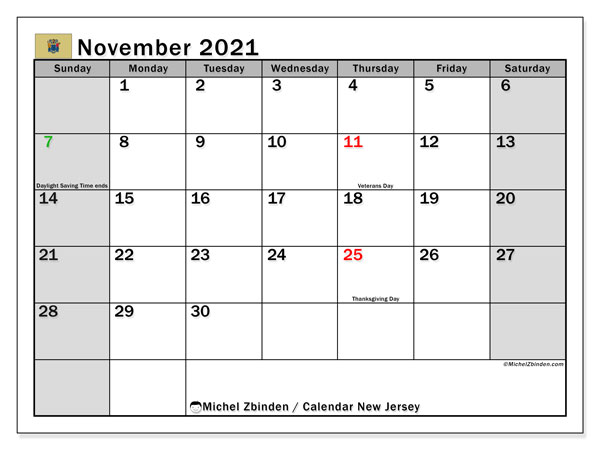 Calendar November 2021 - New Jersey. Public Holidays. Monthly Calendar and free timetable to print.