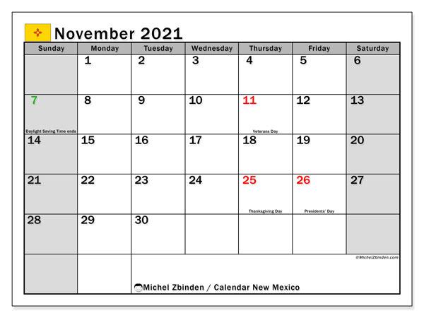 November 2021 Calendar, with the holidays of New Mexico. Holidays calendar to print free.