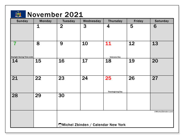 Calendar November 2021 - New York. Public Holidays. Monthly Calendar and free printable timetable.