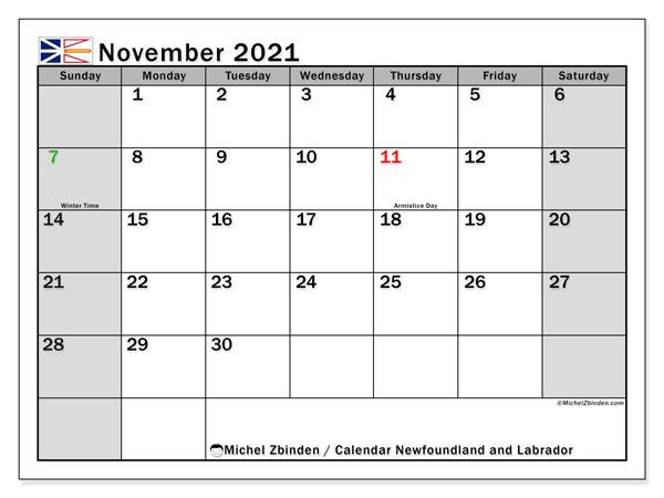 November 2021 Calendar, with the holidays of Newfoundland and Labrador. Holidays calendar to print free.