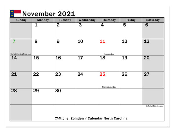 November 2021 Calendar, with the holidays of North Carolina. Holidays calendar to print free.