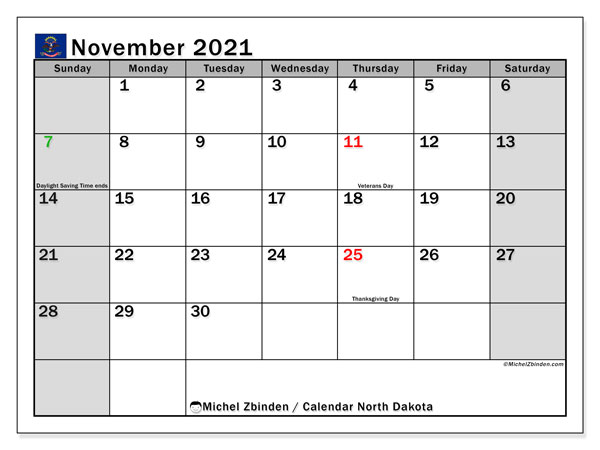 Calendar November 2021 - North Dakota. Public Holidays. Monthly Calendar and bullet journal to print free.