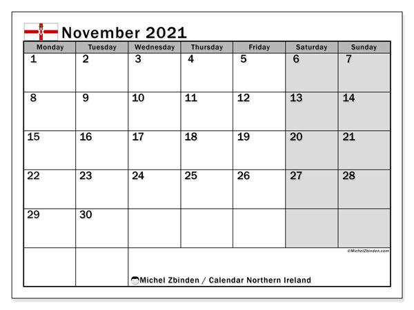 November 2021 Calendar, with the holidays of Northern Ireland. Holidays calendar to print free.