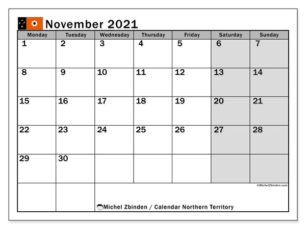"Printable ""Northern Territory"" calendar with public holidays. Monthly November 2021 calendar and free agenda to print."