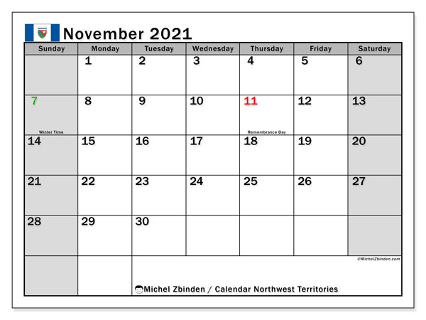 November 2021 Calendar, with the holidays of Northwest Territories. Holidays calendar to print free.