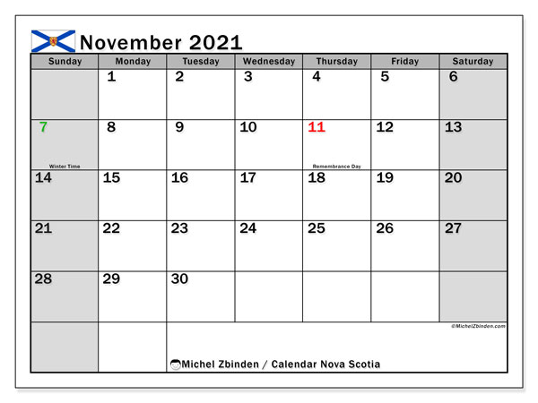 November 2021 Calendar, with the holidays of Nova Scotia. Free printable calendar with public holidays.