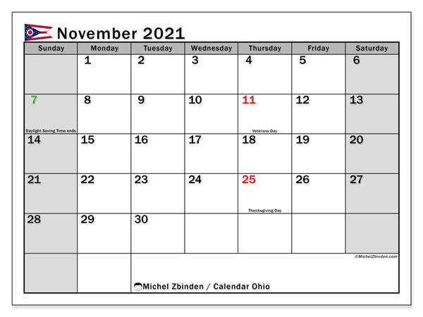 November 2021 Calendar, with the holidays of Ohio. Free printable calendar with public holidays.